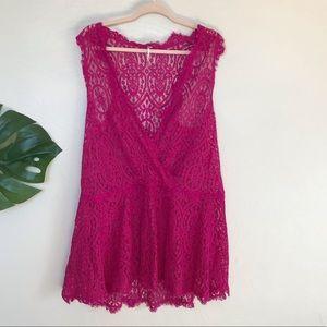 Free People Heart in Two Lace Mini Dress, Lg